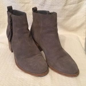BP grey suede ankle booties with outside zip